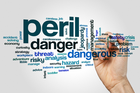 peril: Peril word cloud concept on grey background
