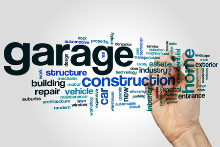Garage word cloud concept on grey background