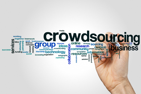 crowdsource: Crowdsourcing word cloud concept on grey background.