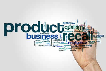 compulsory: Product recall word cloud concept on grey background Stock Photo