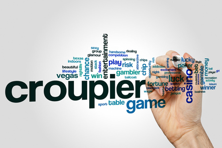 Croupier word cloud concept on grey background.