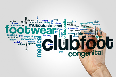 Clubfoot word cloud concept on grey background.