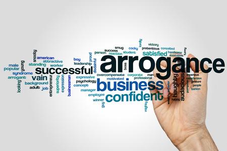 arrogancia: Arrogance word cloud concept on grey background.