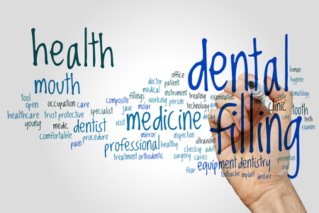 treating: Dental filling word cloud concept on grey background. Stock Photo