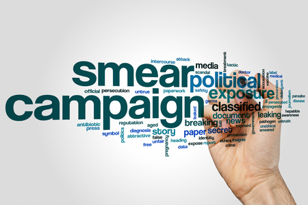 smeared: Smear campaign word cloud concept on grey background