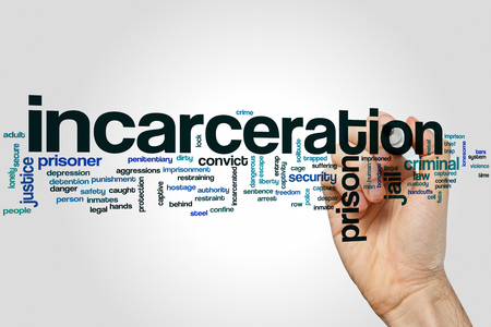 incarceration: Incarceration word cloud on grey background Stock Photo