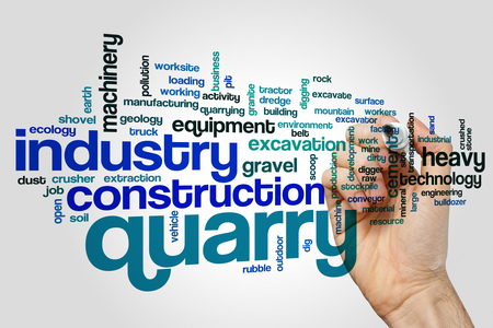 industrial machinery: Quarry word cloud concept on grey background Stock Photo