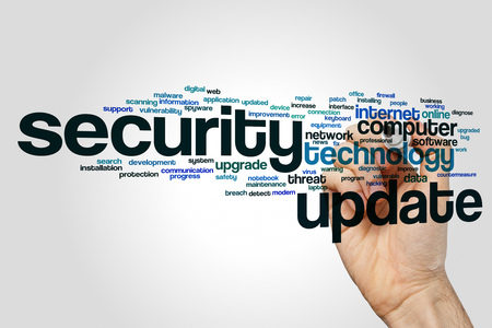Security update word cloud concept on grey background Stock Photo