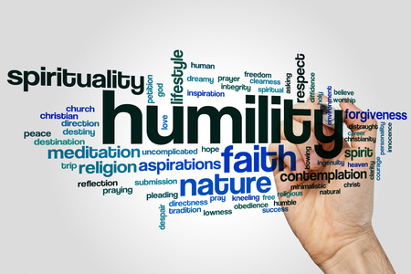 humility: Humility word cloud concept on grey background