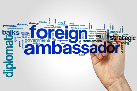 Foreign ambassador word cloud concept on grey background