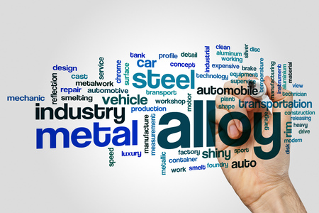 alloy: Alloy word cloud concept on grey background. Stock Photo