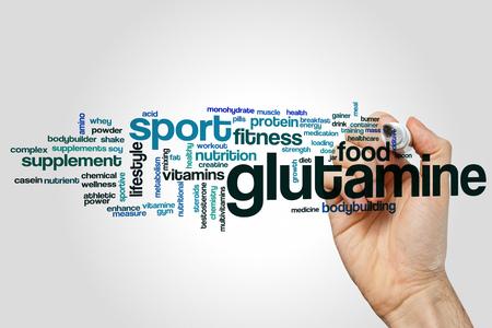 Glutamine word cloud concept on grey background