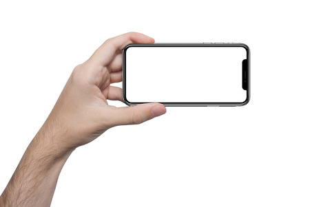 isolated male hand holding the phone with isolated screen