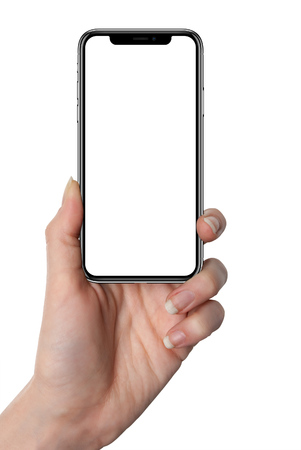Woman holding smart phone with isolated screen in hand, isolated on white.