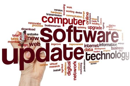 Software update word cloud concept 스톡 콘텐츠