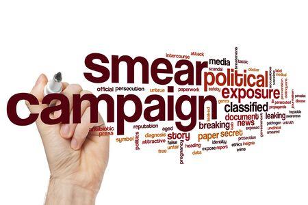 Smear campaign word cloud concept
