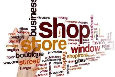 Shop word cloud concept Stock Photo