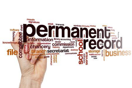 Permanent record word cloud concept Stock fotó