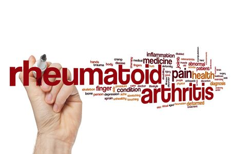 Rheumatoid arthritis word cloud concept Stock Photo
