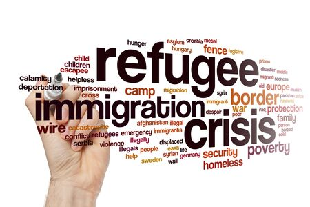 Refugee crisis word cloud concept