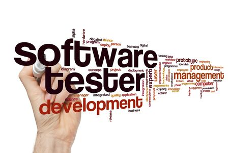 Software tester word cloud concept Stok Fotoğraf