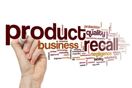 Product recall word cloud concept