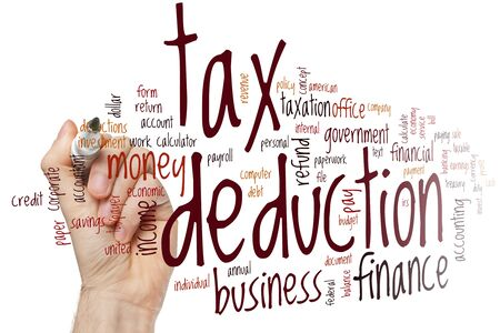Tax deduction word cloud concept