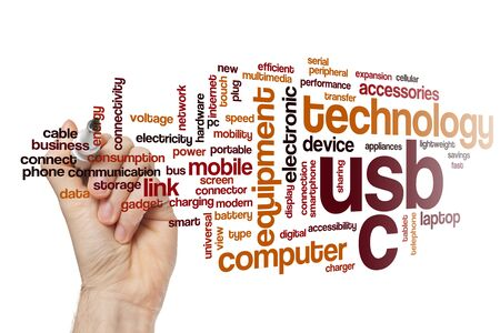 USB C word cloud concept Stockfoto