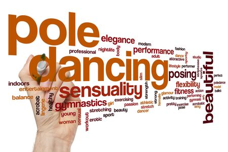 Pole dancing word cloud concept Stockfoto