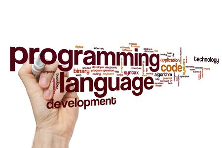 Programming language word cloud concept Stok Fotoğraf