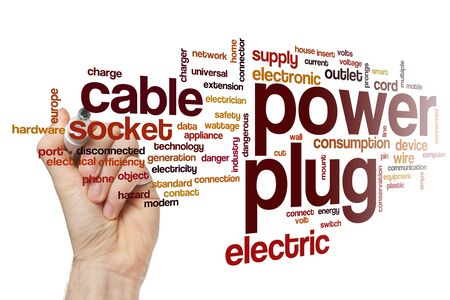 Power plug word cloud concept