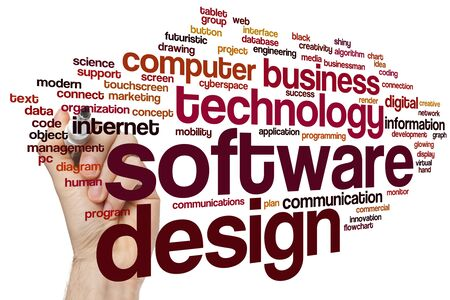 Software design word cloud concept Stok Fotoğraf