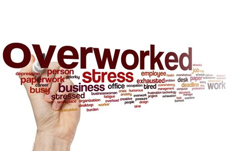 Overworked word cloud concept Stock Photo