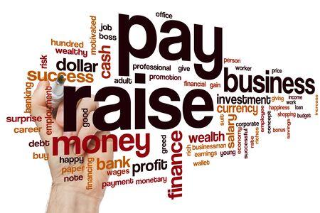 Pay raise word cloud concept 免版税图像