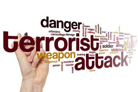 Terrorist attack word cloud concept 写真素材