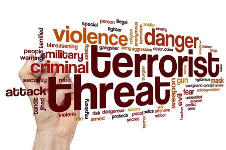 Concept de nuage de mot menace terroriste