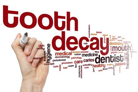 Tooth decay word cloud concept