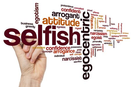 Selfish word cloud concept Archivio Fotografico
