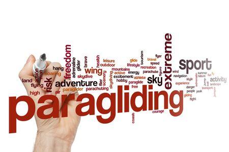 Paragliding word cloud concept Фото со стока