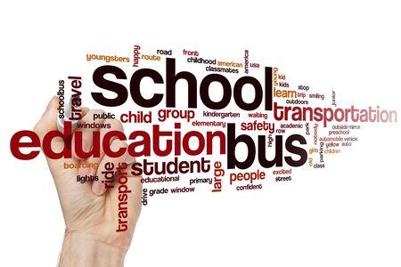 School bus word cloud concept