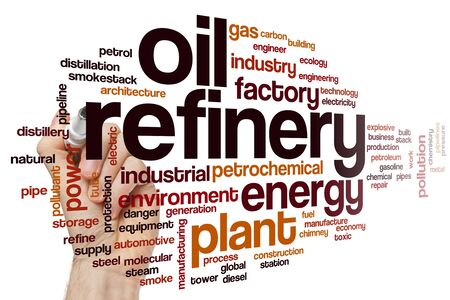 Oil refinery word cloud concept