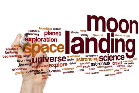 Moon landing word cloud concept Stock Photo