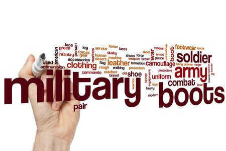 Military boots word cloud concept