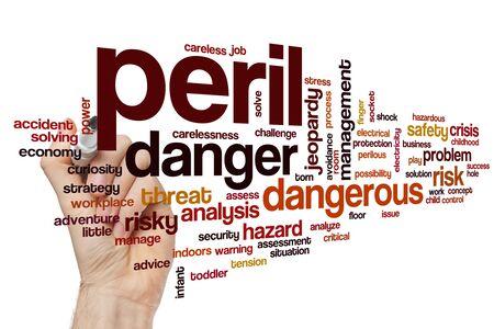 Peril word cloud concept Banque d'images - 129453634