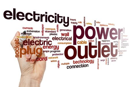 Power outlet word cloud concept Фото со стока