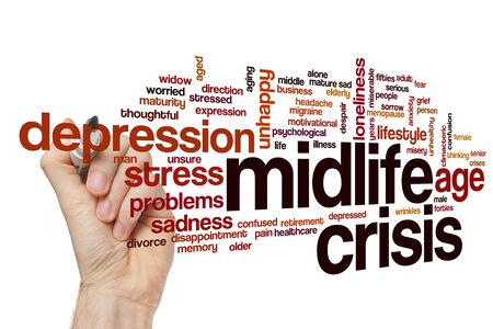 Midlife crisis word cloud concept Banque d'images - 129453650