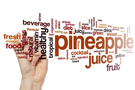 Pineapple juice word cloud concept Banco de Imagens