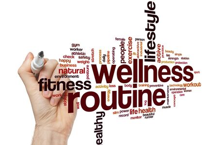 Wellness routine word cloud concept