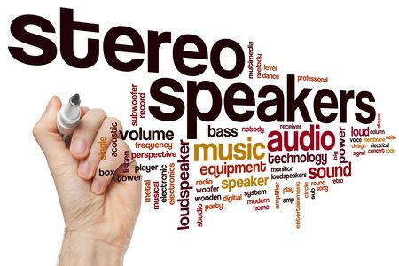 Stereo speakers word cloud concept