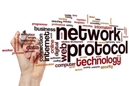 Network protocol word cloud concept Banque d'images - 129453693